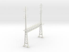PRR S Scale Lattice Anchor Bridge With Bracket in White Natural Versatile Plastic