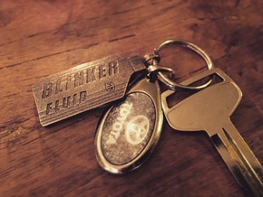 Blinker Fluid Keychain in Polished Bronze Steel