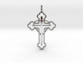 The Hearted Cross in Polished Silver