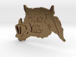 Renegade Pigs Motorcycle Club Badge boarhead v2 in Natural Bronze
