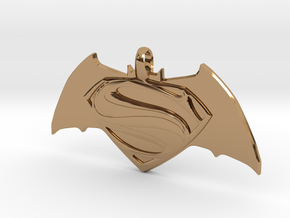 Batman vs Superman Emblem - Reversible Pendant Key in Polished Brass
