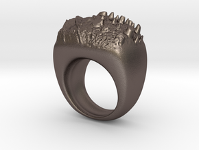 Moon Ring in Polished Bronzed Silver Steel