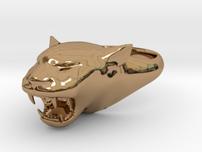 Cougar-Puma Ring , Mountain lion Ring Size 8  in Polished Brass