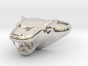 Cougar-Puma Ring , Mountain lion Ring Size 8  in Rhodium Plated Brass