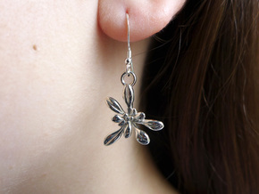 Arabidopsis Rosette Earrings  in Polished Silver