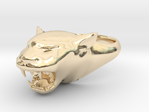 Cougar-Puma Ring , Mountain lion Ring Size 5 in 14K Gold