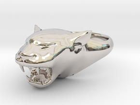 Cougar-Puma Ring , Mountain lion Ring Size 5 in Rhodium Plated Brass