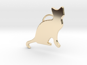 Cat Sitting in 14K Yellow Gold