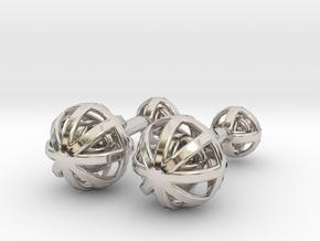 Spheres Cufflinks in Rhodium Plated Brass