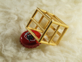 Bottle Opener Cage in Polished Gold Steel: Small