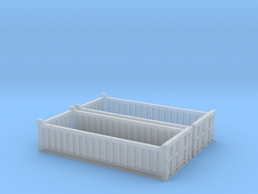 N Scale 20ft Open Top Container Half Height (2 pc  in Smooth Fine Detail Plastic