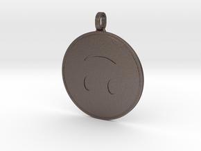 Upside Down Emoji Keychain in Polished Bronzed Silver Steel