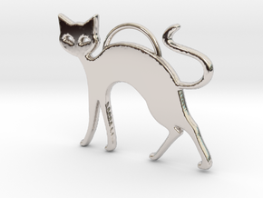 Slinky Cat in Rhodium Plated Brass