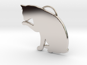 Cat Licking in Rhodium Plated Brass