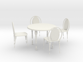 CAFE TABLE AND CHAIR 4 in White Natural Versatile Plastic