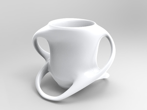 Cup with Four Handles in White Natural Versatile Plastic