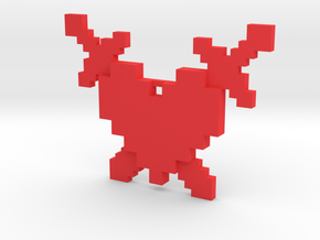 8-Bit Heart and Crossed Swords Necklace in Red Processed Versatile Plastic: Medium