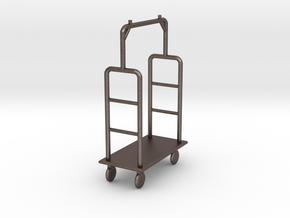 1:48 Luggage Cart in Polished Bronzed Silver Steel