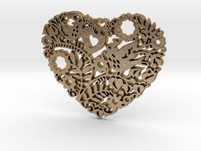 Two Birds in a Heart's Garden - Amour  in Polished Gold Steel: Small
