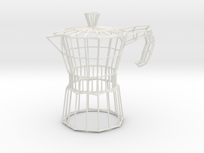 Moka Coffee Pot Wireframe in White Strong & Flexible