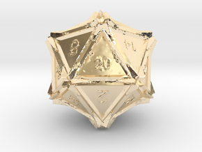 Dice: D20 in 14k Gold Plated Brass