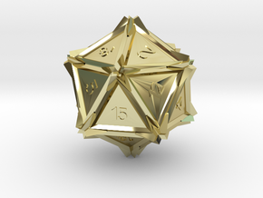 Dice: D20 in 18k Gold Plated Brass