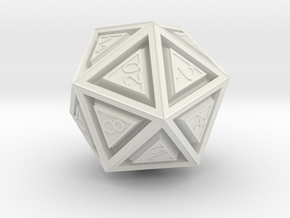 Dice: D20 in White Natural Versatile Plastic