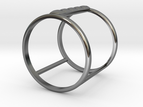 Model Double Ring B in Fine Detail Polished Silver