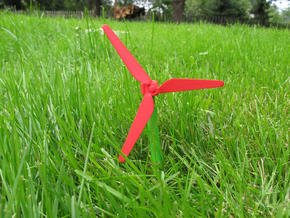 Chopstick Windmill - Slim blades in Red Processed Versatile Plastic