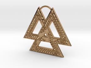 Knotwork Valknut in Polished Brass