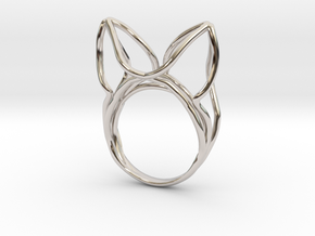 The Ears Ring / size 6US (16.5mm) in Rhodium Plated Brass