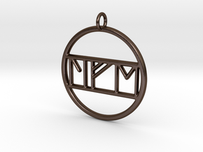 Life in Nordic Rune Pendant in Polished Bronze Steel