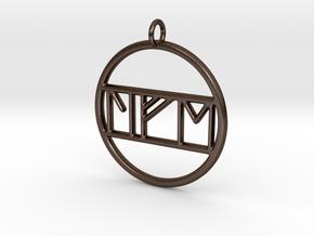 Life in Nordic Rune Pendant in Polished Bronze Steel