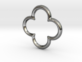 Quatrefoil Pendant/Charm - 16mm in Fine Detail Polished Silver