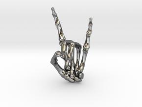 Devil Horns Left Hand in Fine Detail Polished Silver