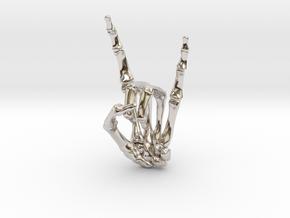 Devil Horns Left Hand in Rhodium Plated Brass