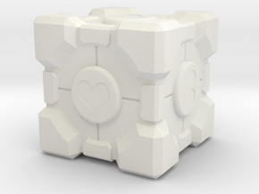 "Weighted Portal Cube - Heart - 1"" (100% Accurate) in White Natural Versatile Plastic"