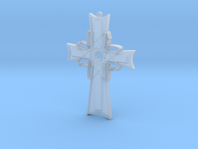 Atomic Cross Pendant (Beta) in Smoothest Fine Detail Plastic