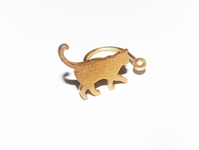 [Ring]Kitty play with a Ball (size 8) in Polished Gold Steel