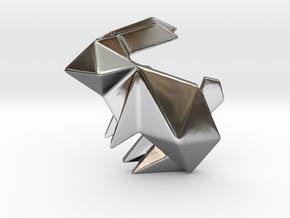 Origami Rabbit Pendant in Premium Silver