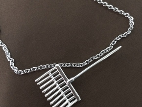 Pitchfork Pendant in Polished Silver