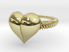 Size 11 Heart Ring in 18k Gold Plated Brass