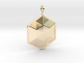 Geometric Hexagon Pendant in 14k Gold Plated Brass