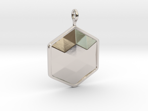 Geometric Hexagon Pendant in Rhodium Plated Brass