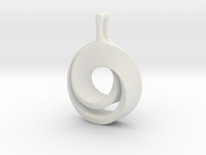 Möbius pendant in White Natural Versatile Plastic: Large