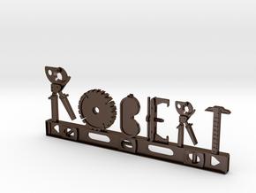 Robert Nametag in Polished Bronze Steel