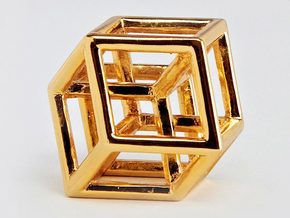 Hypercube Pendant in 14k Gold Plated Brass