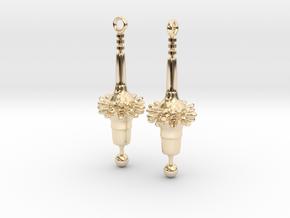 Diatom Earrings in 14K Yellow Gold