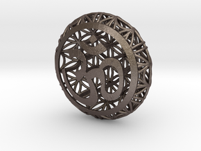 Flower Of Life Pendant  in Polished Bronzed Silver Steel