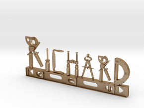 Richard Nametag in Matte Gold Steel